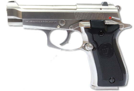 WE Pistola cromata Beretta 84 M84 Scarrellabte full metal gas PR