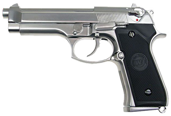 Pistola WE M9 Full Metal PTP Airsoft Gas scarrellante Silver
