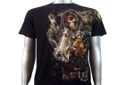 T-SHIRT Skull Gangster Magnum Police con Borchie